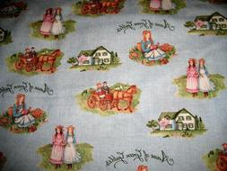 1/4 Yard Light Blue Anne of Green Gables Home Scene Fabric Q