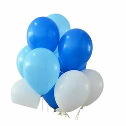 100 Premium Quality Balloons: 12 inches white and blue and l