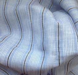 100% Linen Fabric Yarn Dyed Indigo Blue/White Stripe Against