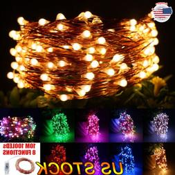 10M 100LEDs Copper Wire String Light Indoor Outdoor Christma