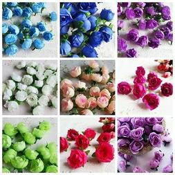 10Pcs Artificial Flowers Small Silk Rose Heads Flower Party
