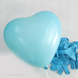 12 inch 100x Light Blue Heart Latex Thick Party Balloons 3.2