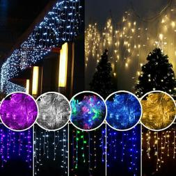13-130FT LED Fairy String Hanging Icicle Curtain Lights Home