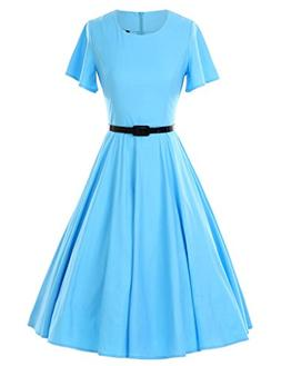 GownTown 1950s Vintage Dresses Butterfly Sleeve Swing Stretc
