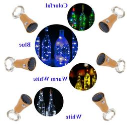 1M LED Solar Warm Wine Bottle Cork Shape Lights 10 LED Night