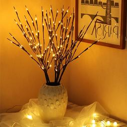 20 Bulbs LED Willow Branch Lamp Battery Powered Natural Tall