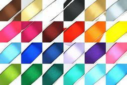 "25 Yard Satin Ribbon Rolls in 24 Colors Sizes: 1/4"", 3/8"", 1"