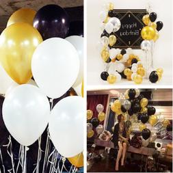 30 pcs Gold Silver Black Wedding Party Decor Latex Balloons