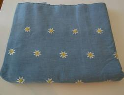 4 Yards Light Blue Fabric With Embroidered Daisies~Brand New