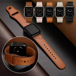 40/44mm Genuine Leather Apple Watch Band Strap for iWatch Se