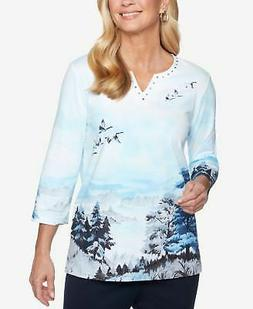 ALFRED DUNNER $48 Womens New 1056 Light Blue Classic Scenic