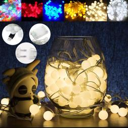 50/100LED Bulbs String Lights Ball Globe Fairy Lamp Festival