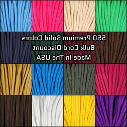 550 Paracord Premium Solid Colors - 10, 25, 50, & 100 Ft Opt