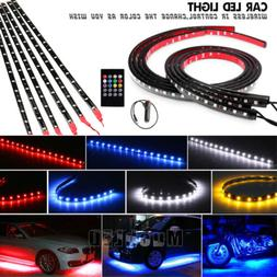 6Pcs 8 Color LED Strip Under Car Tube underglow Underbody Sy