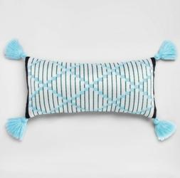 Outdoor Throw Pillow with Tassels - Light Blue & White - Opa