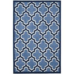 Safavieh Amherst Collection AMT420Q Light Blue and Navy Indo