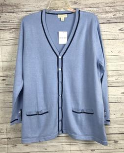 Appleseed's Women's Light Blue / Navy Button Front Cardigan