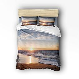 Family Decor Beach Set, Ocean Waves Sunset Pattern Print Hom