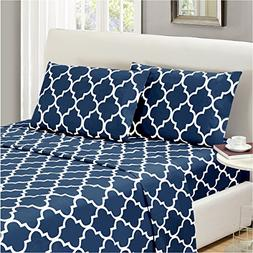 Mellanni Bed Sheet Set Twin-Navy-Blue - HIGHEST QUALITY Brus