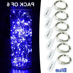 CYLAPEX 6 Pack Blue Fairy String Lights Battery Operated Fai