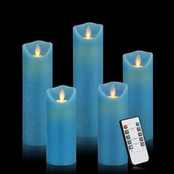 Blue Flameless Candles LED Flickering Light Pillar Real Drip