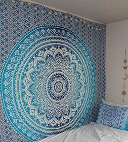 Blue Ombre Tapestry Blanket bedding Hippie psychedelic Tapes