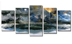 LKY ART Blue Wall Decor Wall Art Pictures Sunset Very Unique