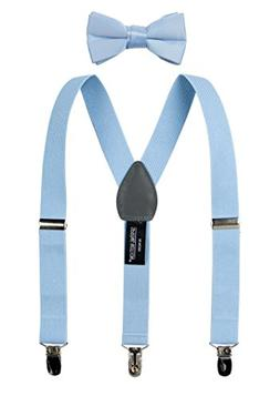 Spring Notion Boys' Suspenders and Solid Color Bowtie Set Li
