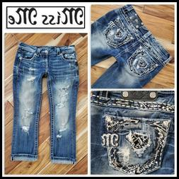 Buckle MISS ME RIPPED DESTRUCTION BLING POCKETS CROPPED CAPR