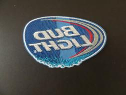 """BUD LIGHT"""" BLUE & SILVER  EMBROIDERED IRON ON PATCHES  2-1/4"""