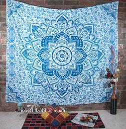 Large Blue Tapestry Wall Hanging Bohemian Ombre Mandala Tape