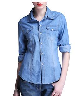 Yeokou Women's Classic Long Sleeve Button Down Denim Chambra