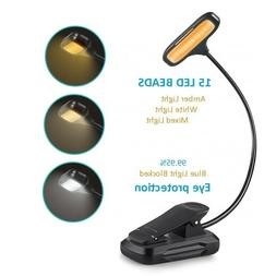 Clip On Book Light, Rechargeable Blue Light Blocking 15 LED