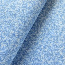 Cotton Quilting Fabric, Tone On Tone Light Blue Bamboo Leave