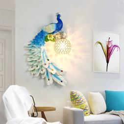 Crystal Light Blue Peacock Wall Lamp Lighting Fixture Resin