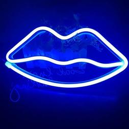 Cute Blue Neon Light,LED Lips Sign Shaped Decor Light,Marque