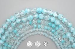 Czech Fire Polished Round Faceted Glass Beads in Crystal Lig