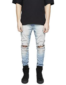 distressed jeans washed stretchy tapered