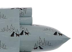 Eddie Bauer Dog Friends Flannel Sheet Set, Blue, King