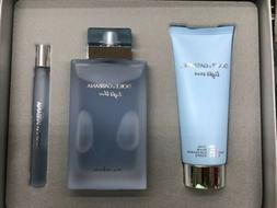 DOLCE & GABBANA LIGHT BLUE EAU INTENSE 3 PC GIFT SET 3.3 3.4