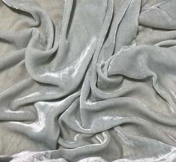 DUSTY LIGHT BLUE Silk VELVET Fabric