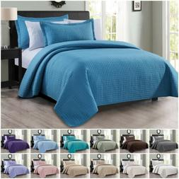 Chezmoi Collection Edan 3-Piece Solid Modern Quilted Bedspre
