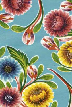 Oilcloth Fabric Beautiful Blooms Light Blue Pattern Sold in