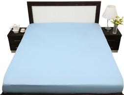 fitted sheet queen size light blue solid
