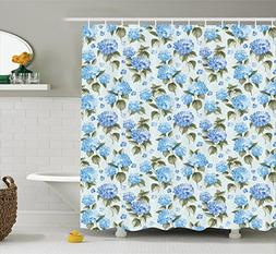 Ambesonne Floral Shower Curtain Set, Blue Hydrangea Flowers