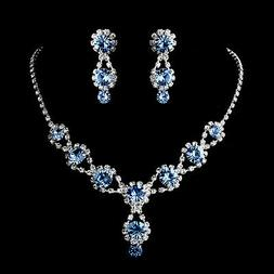 Frozen Light Blue Wedding Necklace&Earring Set w Crystals an