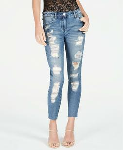 Guess Embellished Rip & Repair Curvy Skinny Jeans Size 28