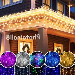 Indoor Outdoor String Lights Icicle Snowing Curtain Hanging