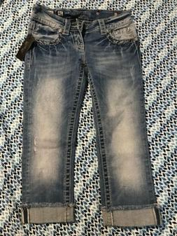 Miss Me Jeans 25 Signature Cuffed Capri Light Blue New With