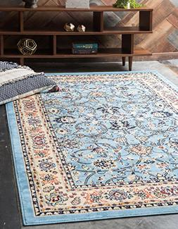 Unique Loom Kashan Collection Traditional Floral Light Blue